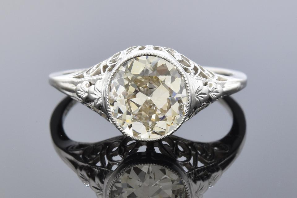Item #11831 Art Deco Filigree Ring with a Vintage Cut Diamond 11831