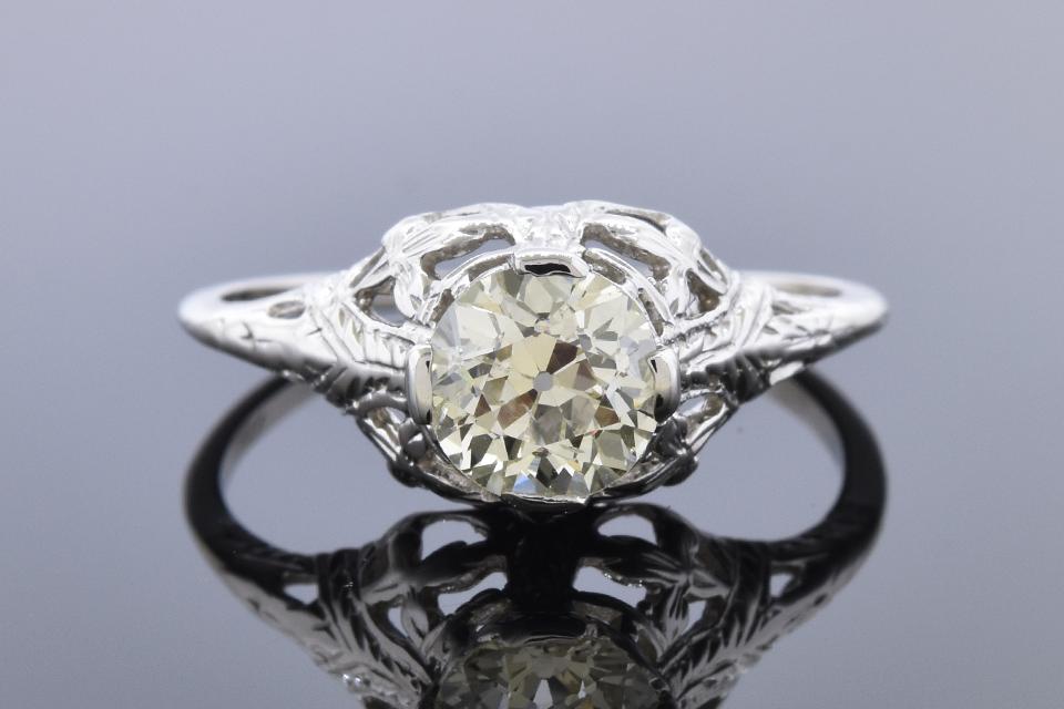 Art Deco Open Design Solitaire Engagement Ring