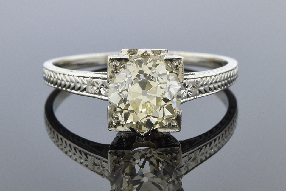 Item #11801 Art Deco Solitaire Engagement Ring 11801