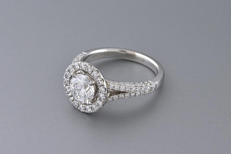 Diamond Halo Engagement Ring with Split Shank Design