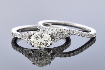 Split Shank Diamond Engagement Ring with Matching Band