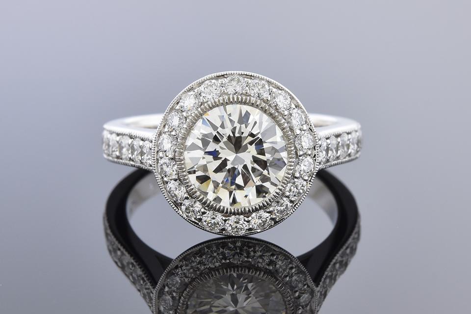 Item #10229 Diamond Halo Engagement Ring with a 1.59 Carat Diamond 10229