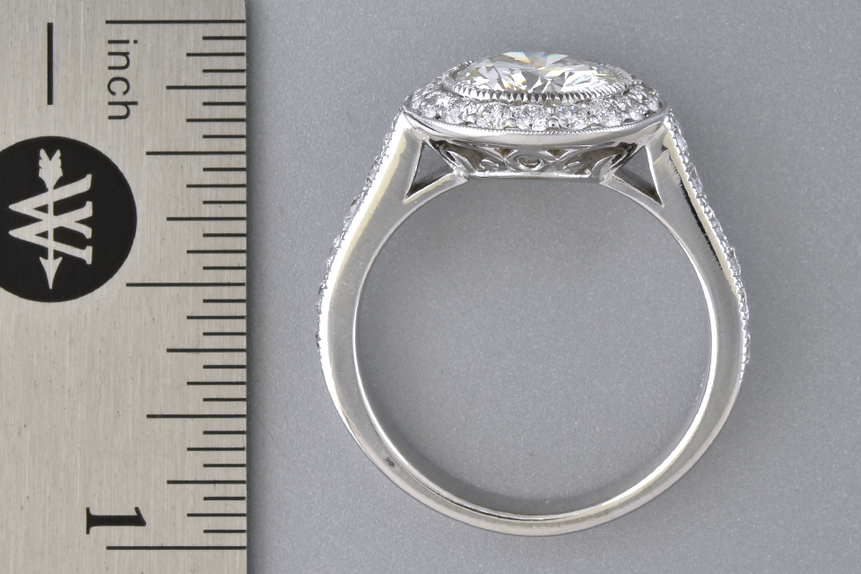 Diamond Halo Engagement Ring with a 1.59 Carat Diamond