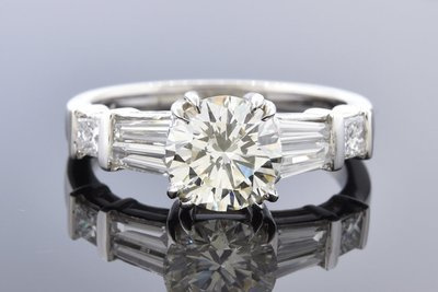 Baguette Accented 1.58 Carat Diamond Engagement Ring