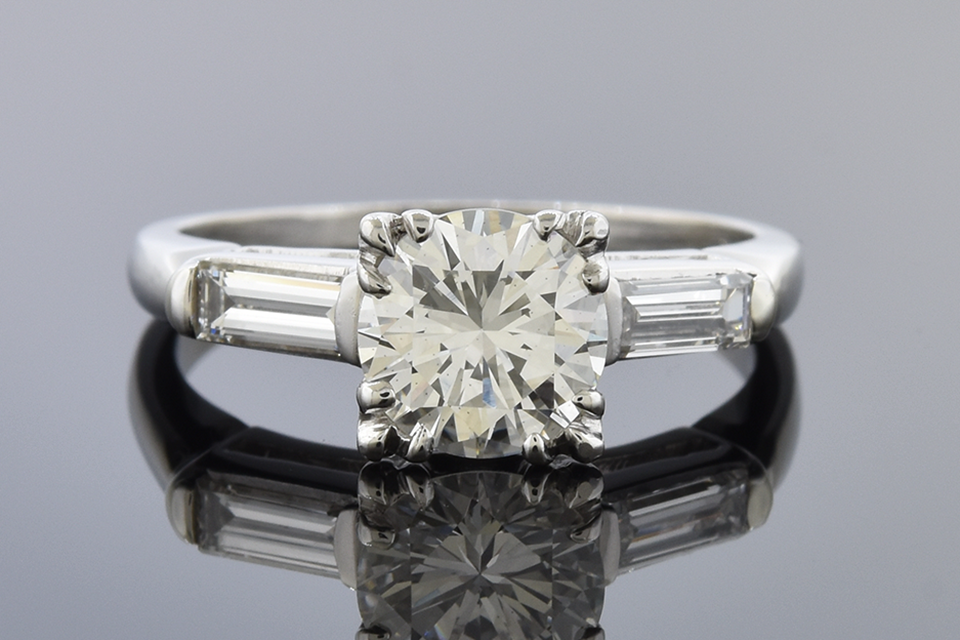 Item #10251 Classic Baguette Accented Diamond Engagement Ring 10251