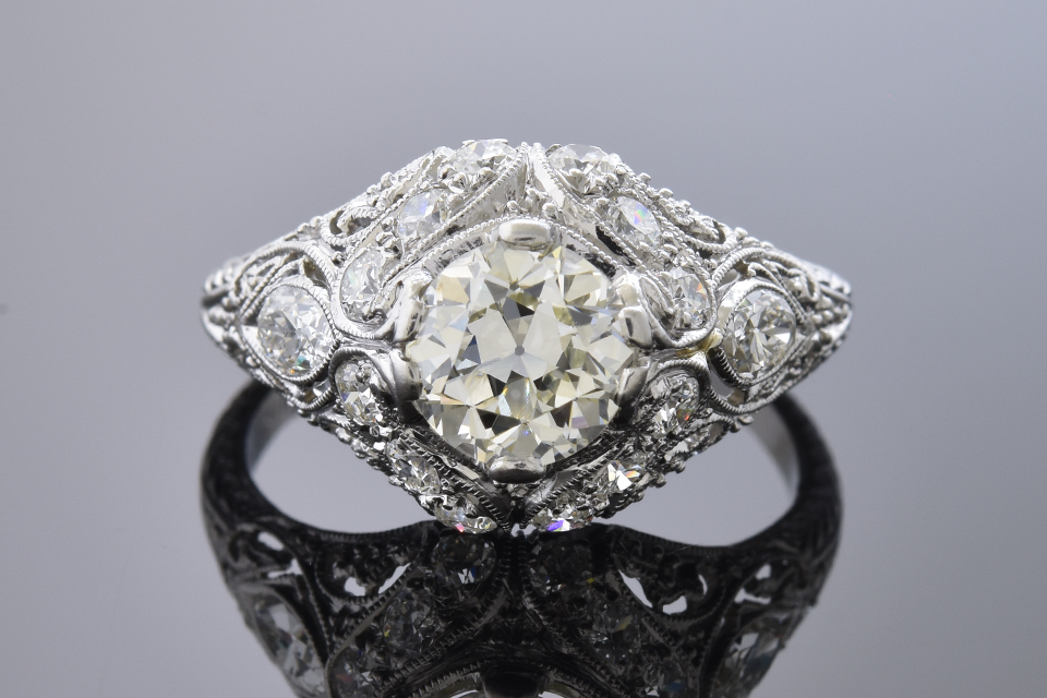 Item #12261 Art Deco 1.00 Carat Diamond Ring with Hand Carved Details 12261