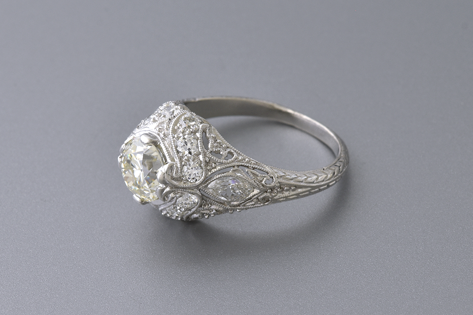Art Deco Diamond Ring with Hand Carved Details
