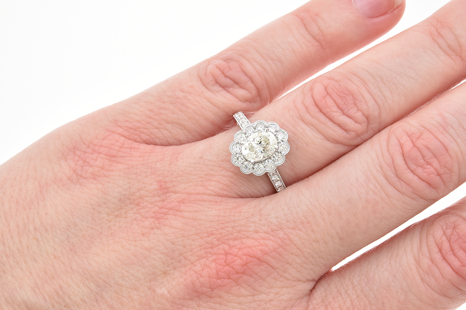 Scalloped Edge Halo Diamond Engagement Ring