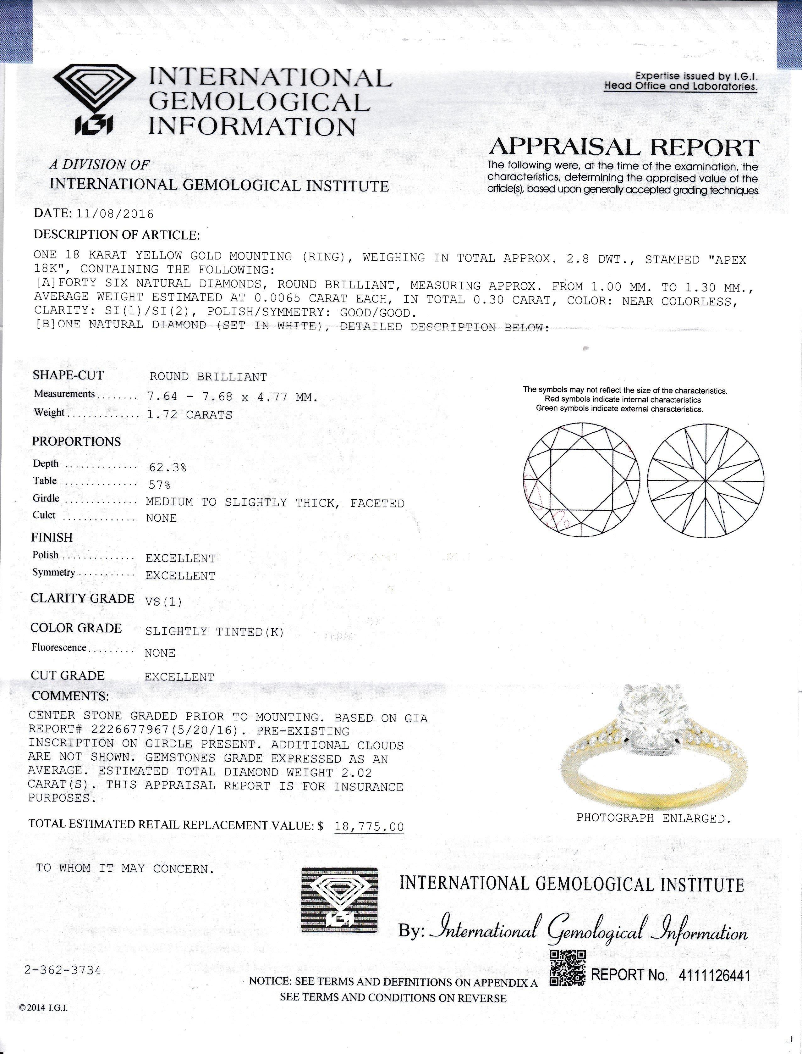 Item #11111 Bright 1.72 Carat Diamond Engagement Ring