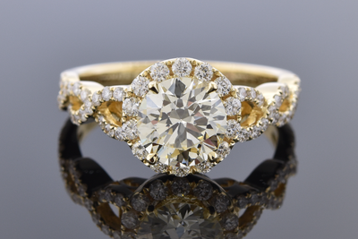 Halo Diamond Engagement Ring with a Twist