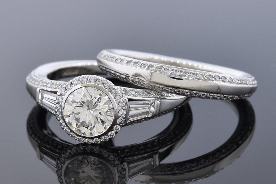 Item #12181 Elegantly Detailed .81 Carat Diamond Bridal Ring Set 12181