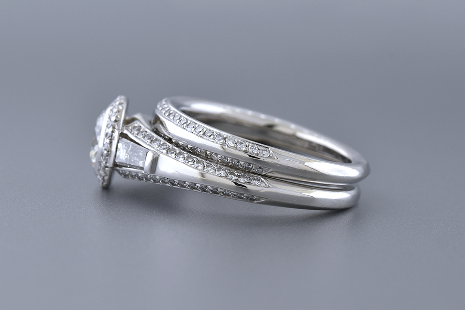 Elegantly Detailed .81 Carat Diamond Bridal Ring Set
