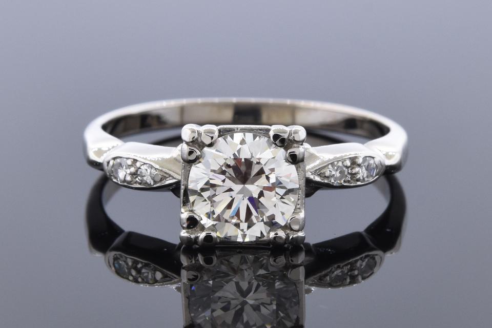 Item #12100 Vintage .91 Carat Diamond Engagement Ring 12100