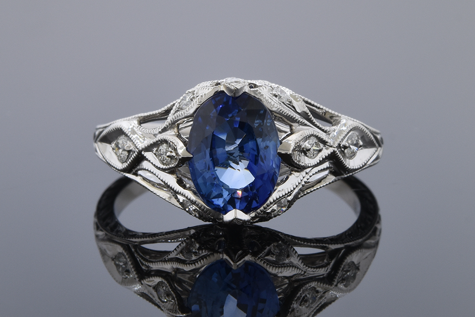 Bright Sapphire Ring with Modern Art Deco Details 11601