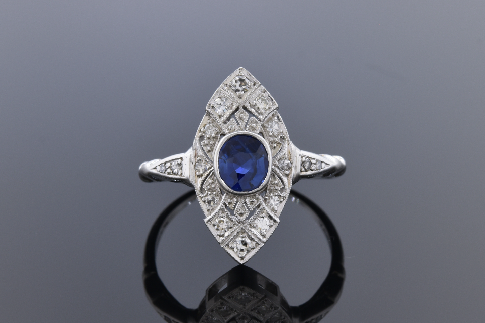 Item #12394 Vintage Sapphire and Diamond Navette Shaped Ring 12394