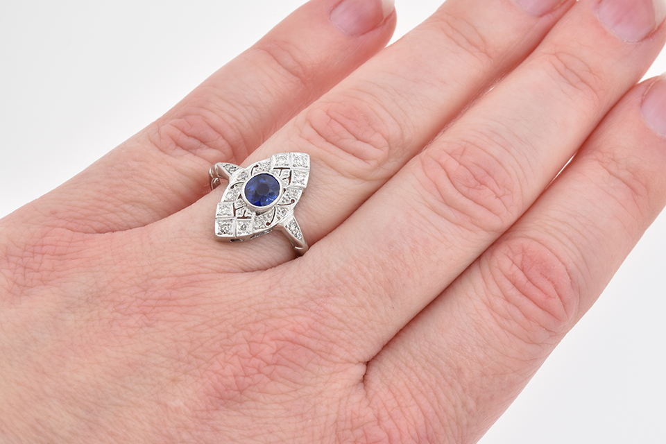 Vintage Sapphire and Diamond Navette Shaped Ring