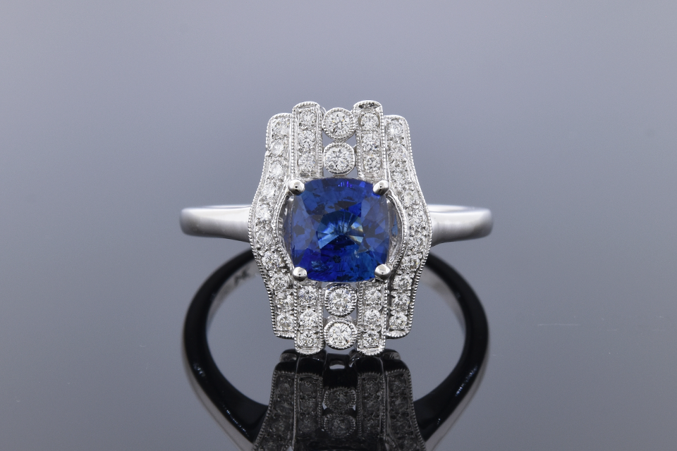Item #11140 Vintage Inspired No Heat Sapphire and Diamond Ring 11140