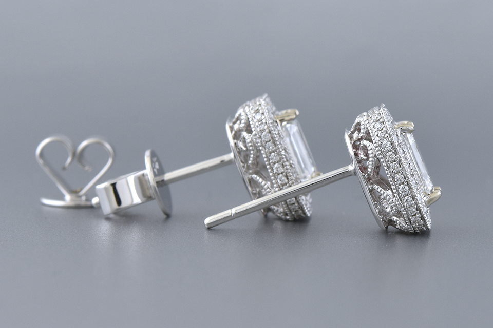 Item #12430 Modern Halo Set Emerald Cut Diamond Earrings