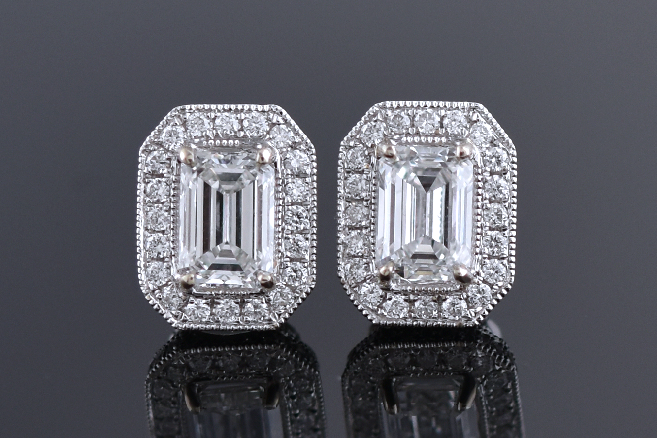 Modern Halo Set Emerald Cut Diamond Earrings
