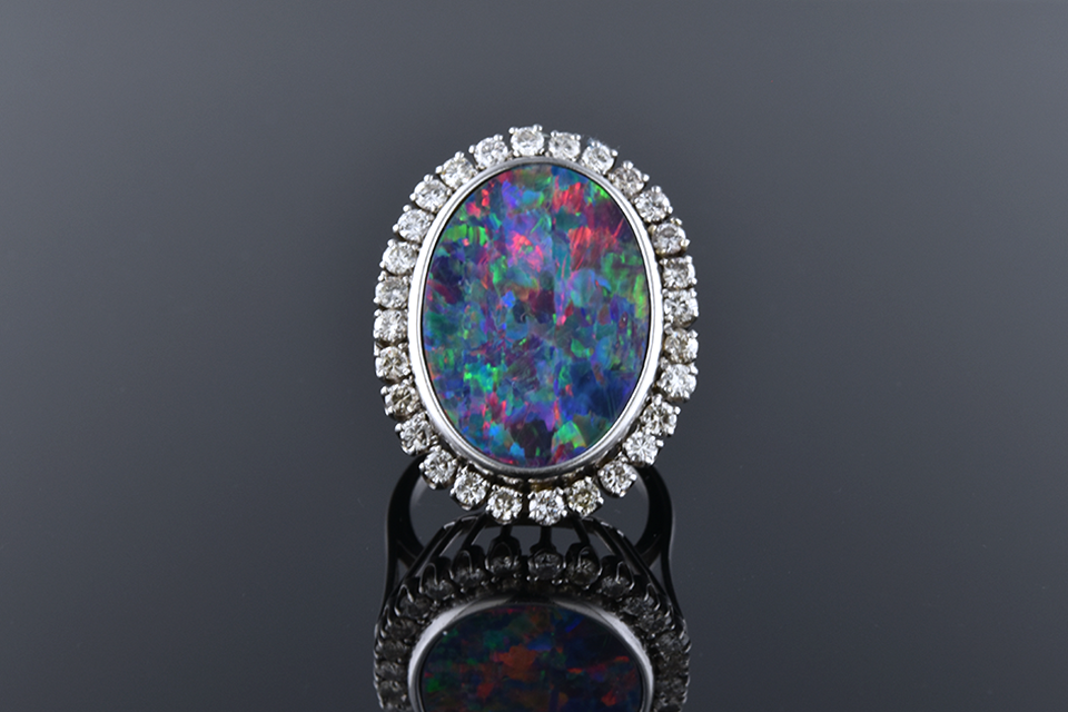 Item # 12224 Opal and Diamond Ring 12224