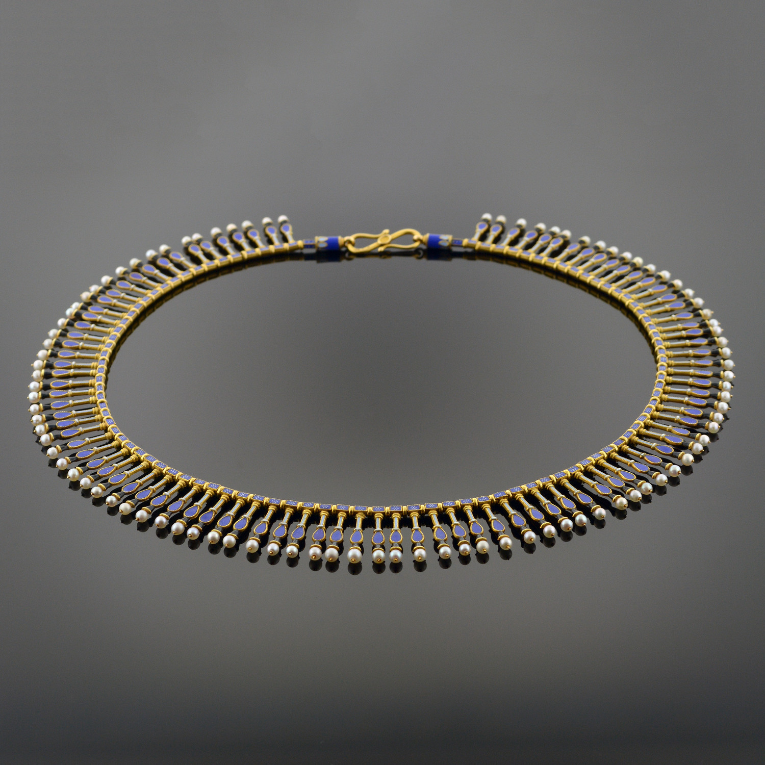Important Gold, Enamel, and Pearl Fringe Necklace