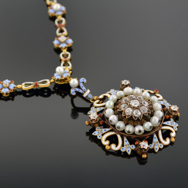 Renaissance-Revival Gold, Enamel, and Diamond Necklace