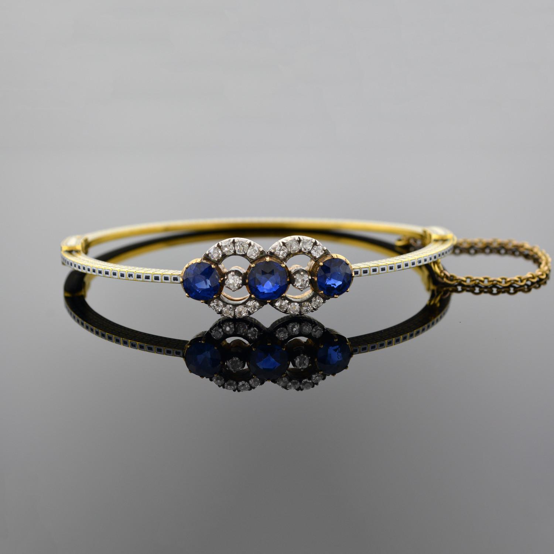 Sapphire Diamond and Enamel Bangle Bracelet