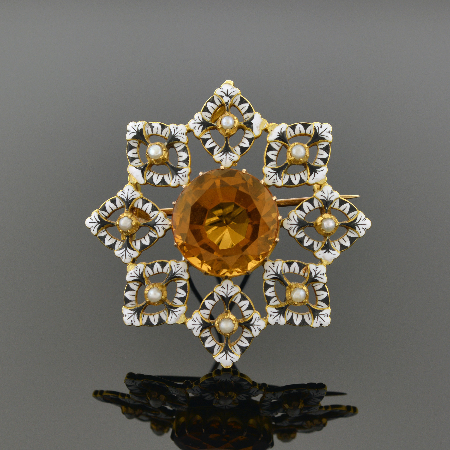 Renaissance-Revival Gold, Enamel, and Orange Zircon Brooch