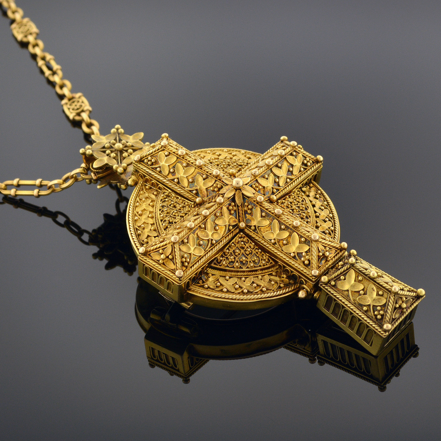 Byzantine-Revival Gold Reliquary Cross Pendant