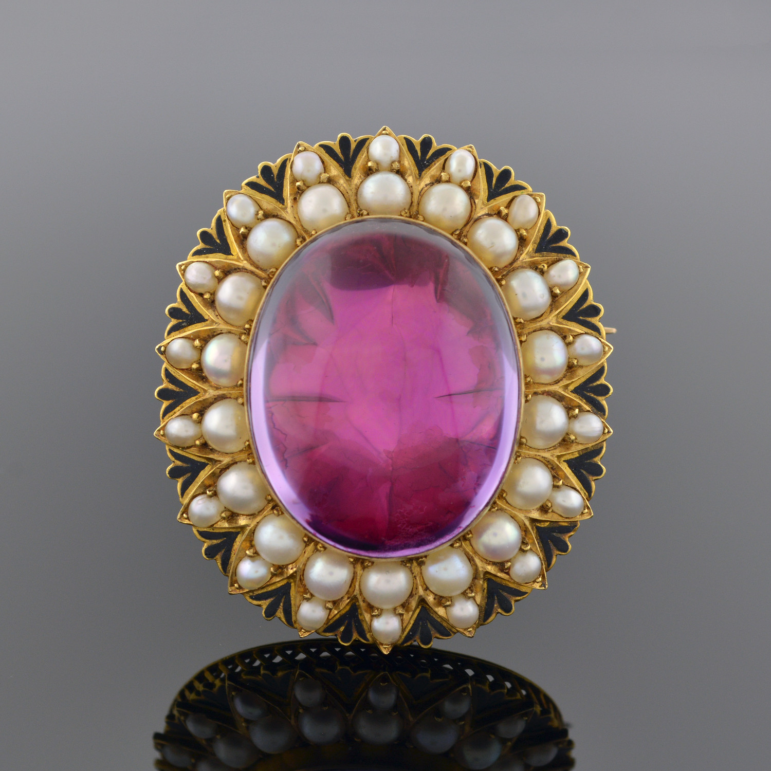 Renaissance Revival Amethyst, Pearl, and Enamel Brooch