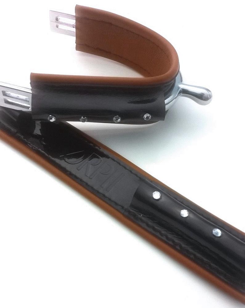 DUO Full noir vernis - Marron 4strass / Full Black Shiny - Brown