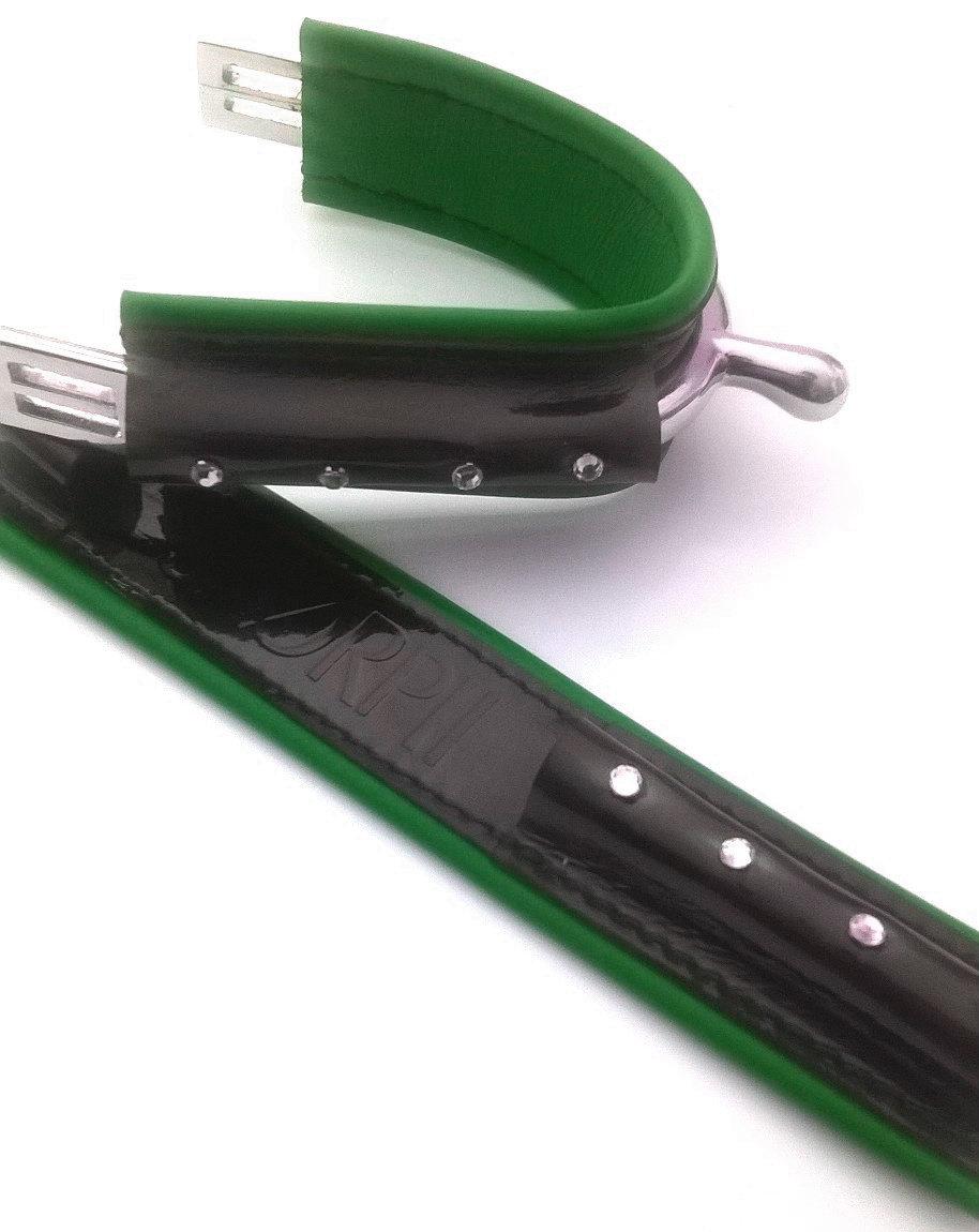 DUO Full noir vernis - VERT 4strass / Full Black Shiny - GREEN
