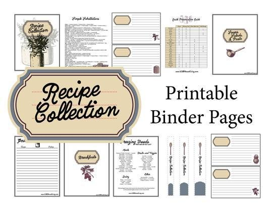 Blue Recipe Binder Pages (Instant Download)
