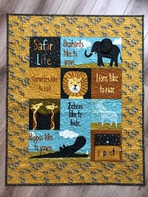 Safari Baby Quilt Yellow/Grey