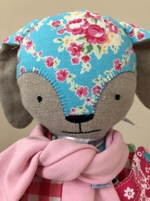 Sugar Flower Bunny Doll in Aqua
