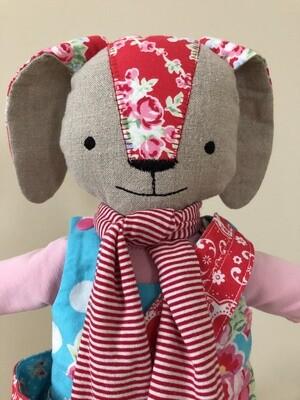 Sugar Flower Bunny Doll in Red
