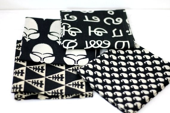 Black and white precut bundle of 4