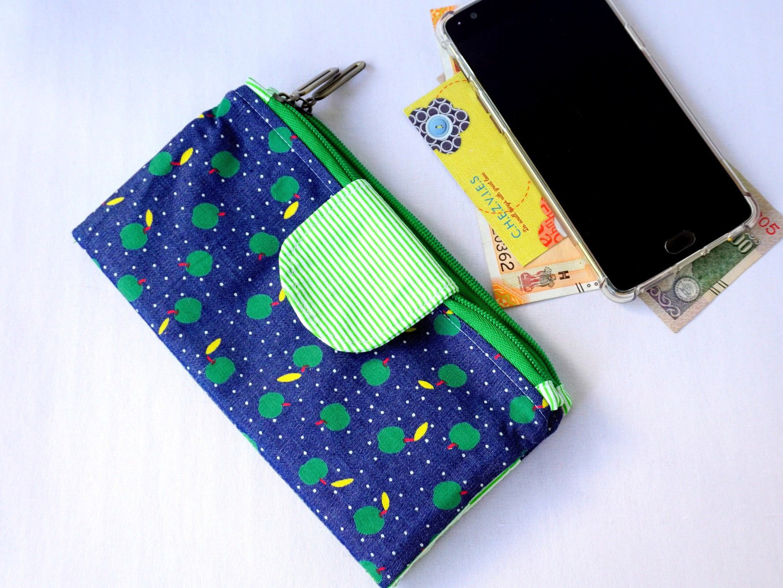 Handmade Double Zipper Wallet - Cherry Print Denim