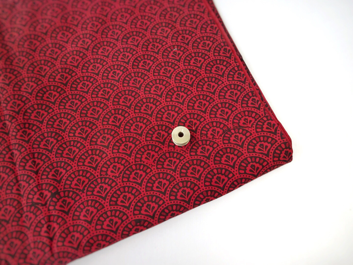 Red Clamshell Design Cotton Fabric Sold By Half Meter