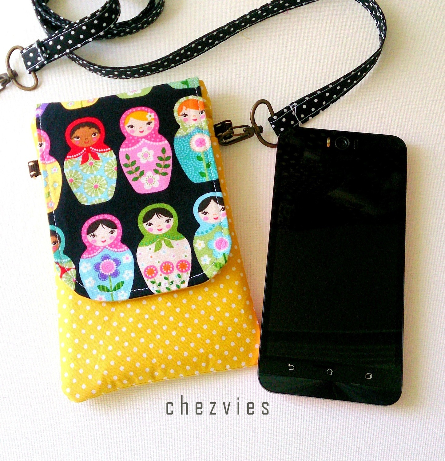 Handmade mini sling bag for Mobile Phone, Russian Doll Phone Sleeve- Made to Order