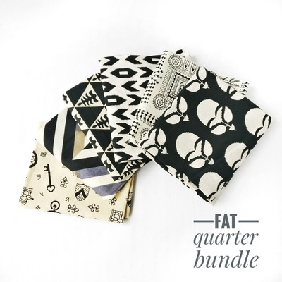 Black Beige Fat quarter Bundle of 6