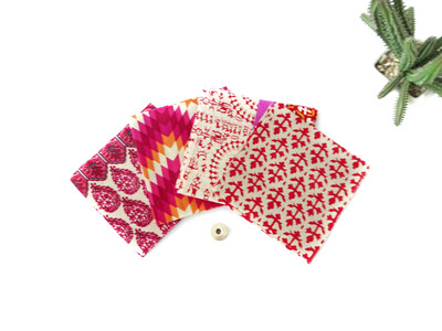 Pink Fat Quarter Bundle - Indian block print cotton fabric