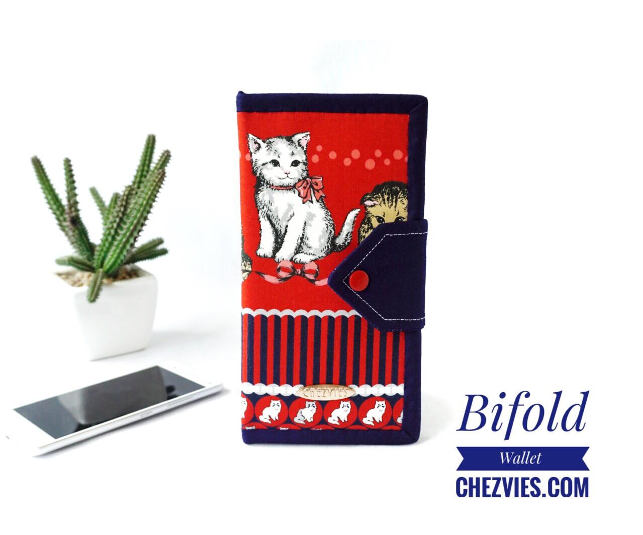 Red Handmade fabric Wallet For Women, Cat Print wallet