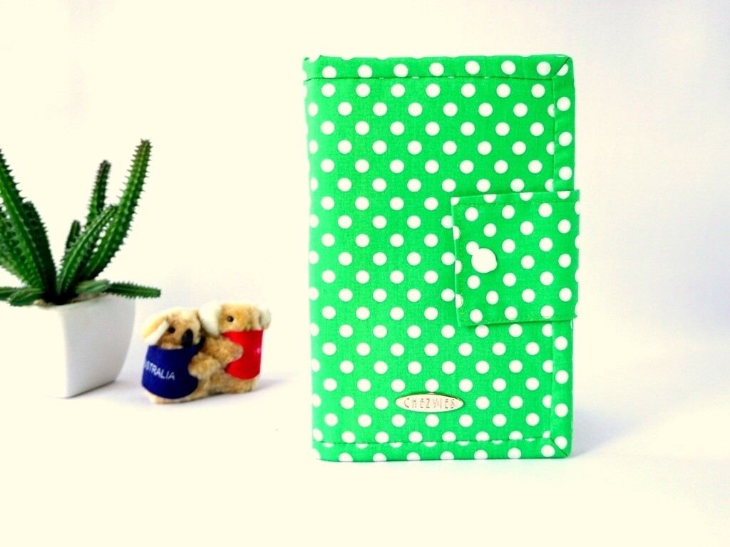 Green Polkadot Handmade Family Travel Wallet