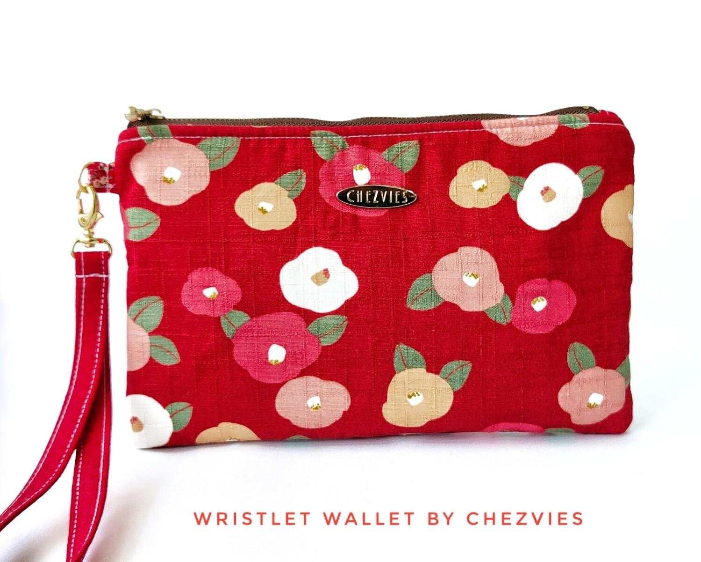 Red floral wristlet wallet