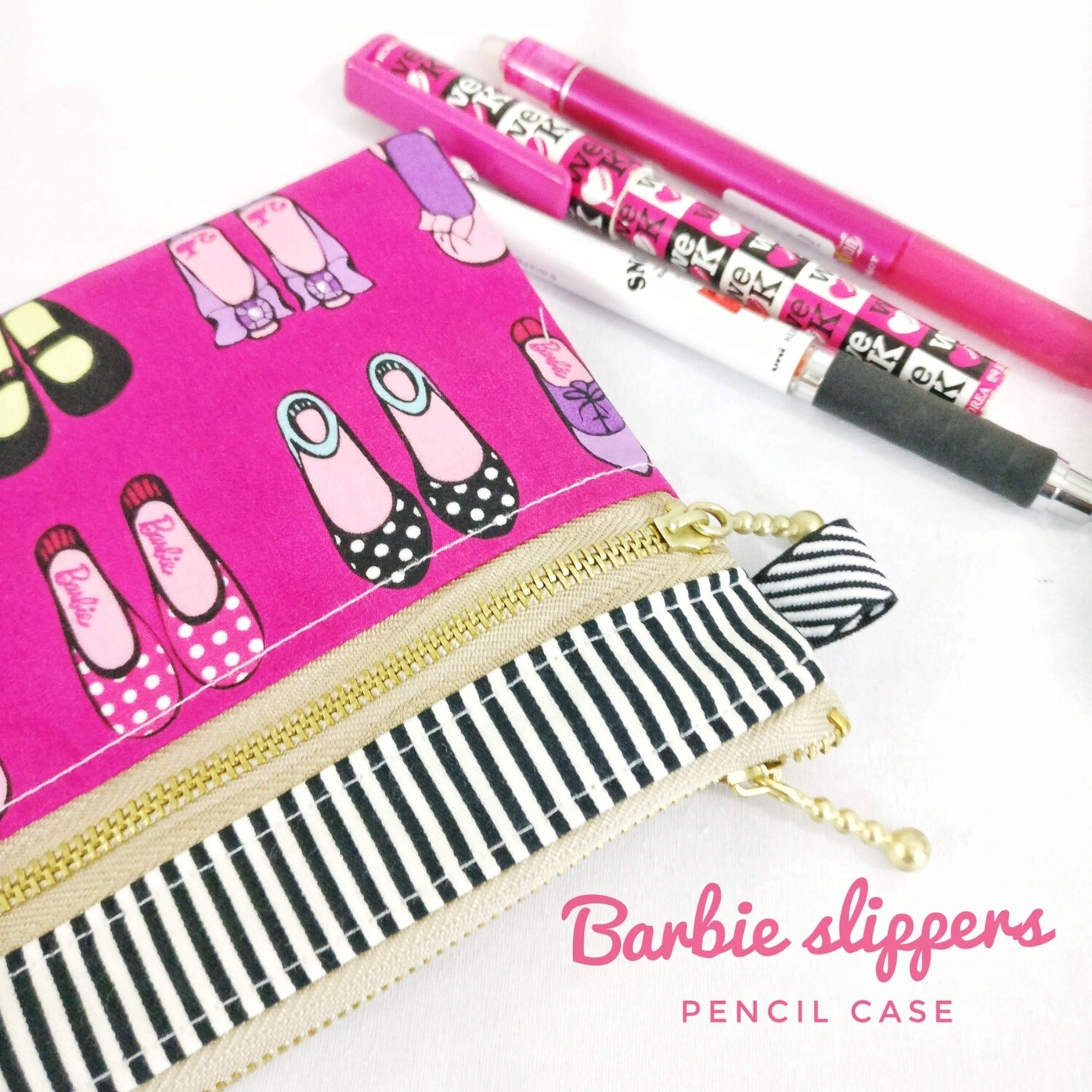 Handcrafed Barbie Fabric Pencil Case Pink
