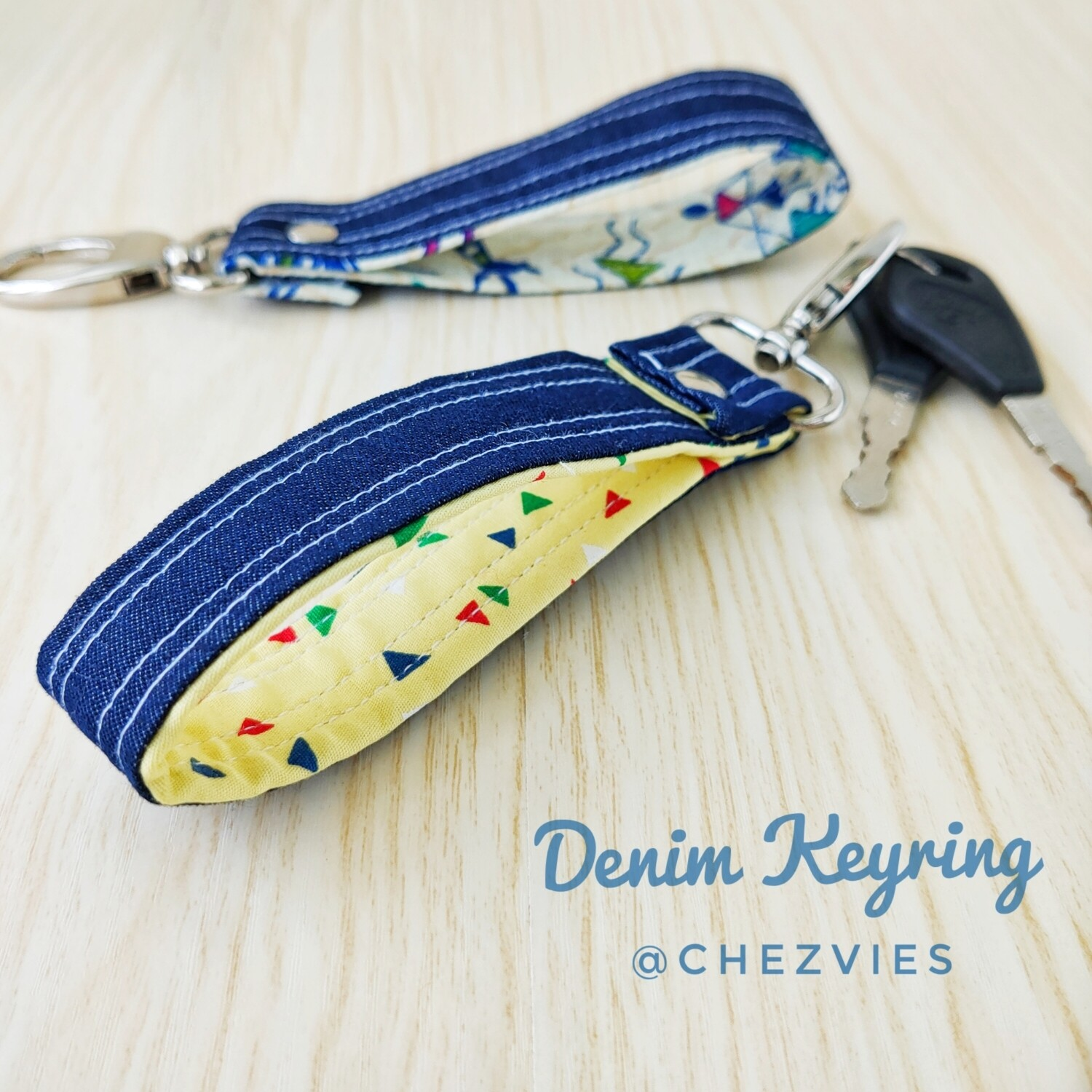 Denim Keyring - choose your own fabric  combo