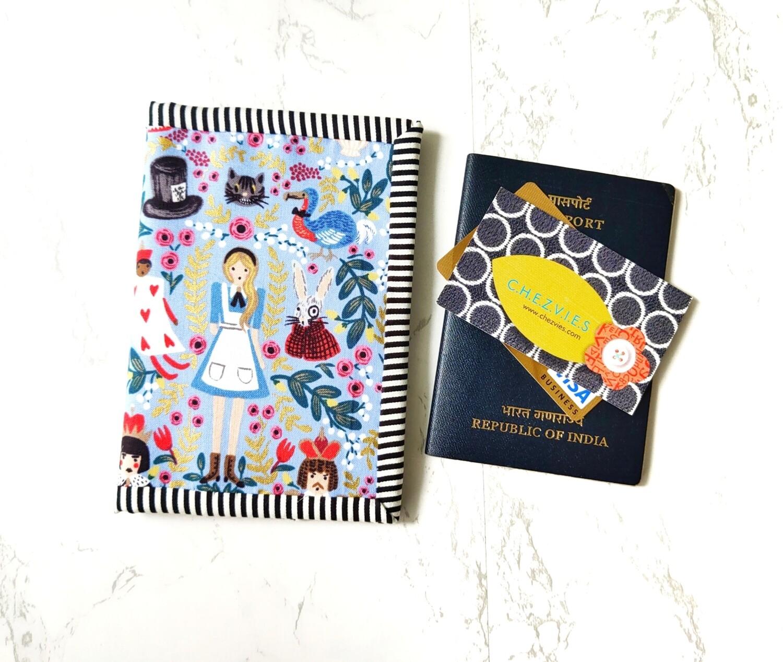 Blue Alice Handmade Passport Cover Card Holder