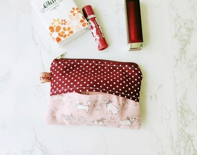 Mini Zipper Pouch with Tissue Holder - pink dog