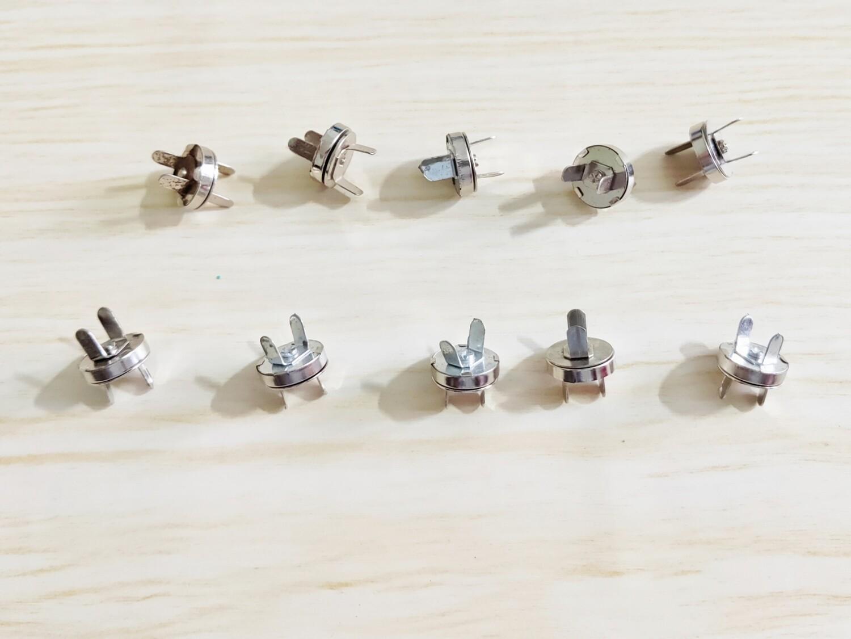 """Set of 10 Magnetic Snap  - 0.50"""" diameter - nickel/silver"""